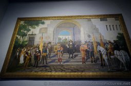 Fiesta at the Santa Barbara County Courthouse Oil on Canvas Painting by Theodore van Cina.jpg