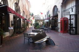 Courtyard with seats at La Arcada Santa Barbara.jpg
