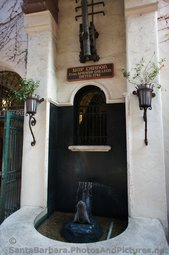 Ship Cannon from 1741 Spanish Galleon above fountain at La Arcada Santa Barbara.jpg